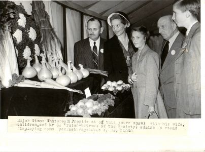 Major Whitbread surveying the Vegetable Exhibits 1940s